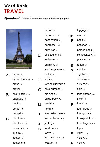 esl travel vocabulary word search lifehacked1st com