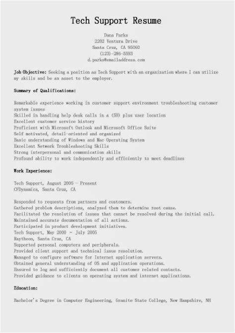 great sle resume tech support resume sle