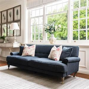 Dark, Blue, Shabby, Chic, Three, Seat, Sofa, 235cm