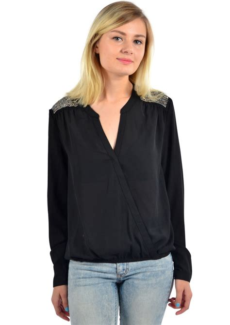 v blouse crepe v neck blouse black happiness boutique