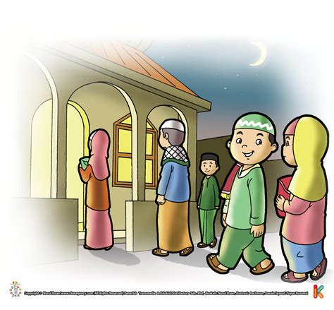 kartun anak pergi ke masjid