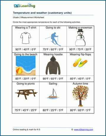 worksheets on weather for grade 3 temperature worksheets weather and temperature k5 learning