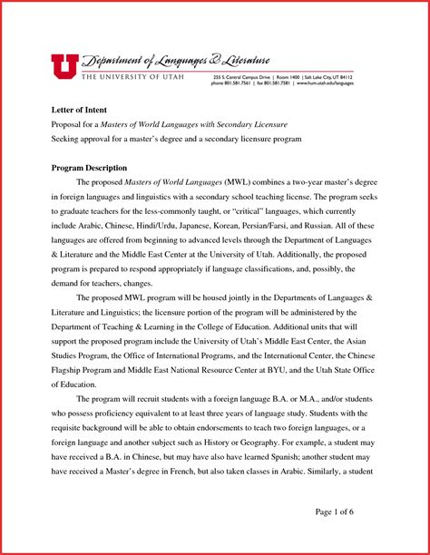 letter of intent graduate school letter of intent template graduate school sles letter 29607