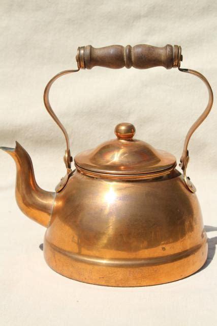 vintage copper teakettle tea kettle  wood handle portugal copper kitchen ware