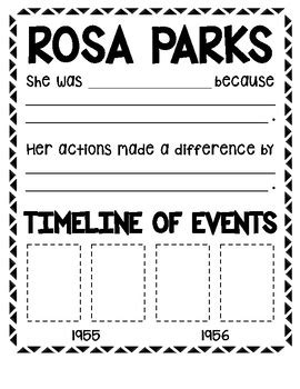 rosa parks activities timeline writing craft  emily petersen