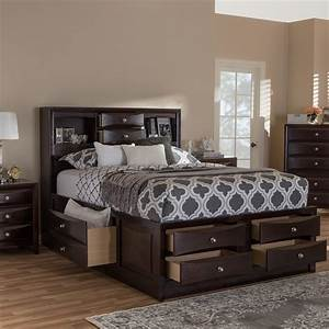 Baxton, Studio, Pacifico, Modern, And, Contemporary, Dark, Cherry, Brown, Finished, 8