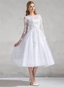 robe princesse col rond longueur mollet tulle dentelle With robe de mariée longueur mollet