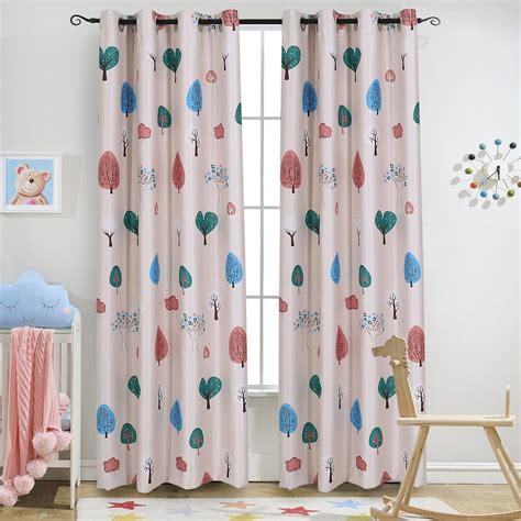 Kids Room  Machine Washable Dark Blue Printed Curtain For