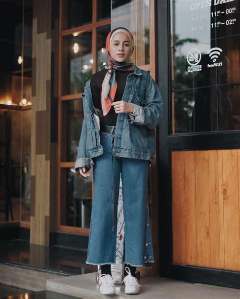 hijab teenage outfit shirt  pallazo longclothes cullotes dark blue denim jac hijab
