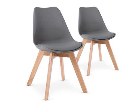 housse chaise de bureau lot de 2 chaises style scandinave bovary gris