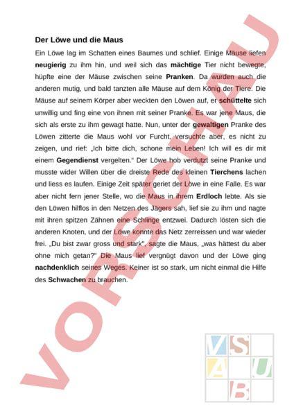 arbeitsblatt der loewe und die maus deutsch