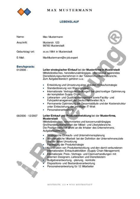 Lebenslauf Schreiben Für Bewerbung by Muster Lebenslauf Zur Initiativbewerbung Arbeitsstelle