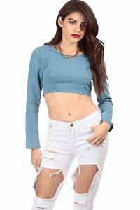Long Sleeve Denim Crop Top @ Cicihot Top Shirt Clothing Online Store Dress ShirtSexy Womens ...
