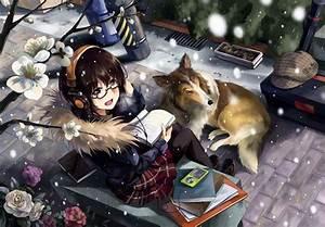 glasses, , , dog, , , anime, girls, , , headphones, , , original, characters, , , neko, , yanshoujie, , , wallpaper
