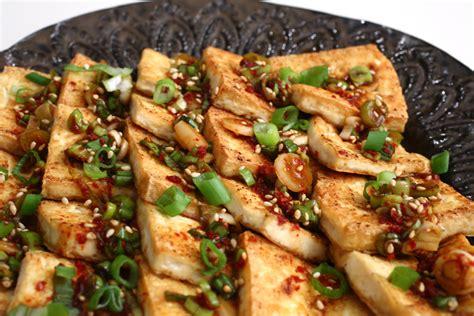 tofu cuisine pan fried tofu with spicy sauce dububuchim yangnyeomjang