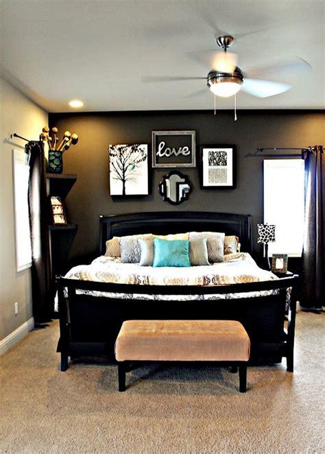 master bedroom  dark grey accent wall light grey