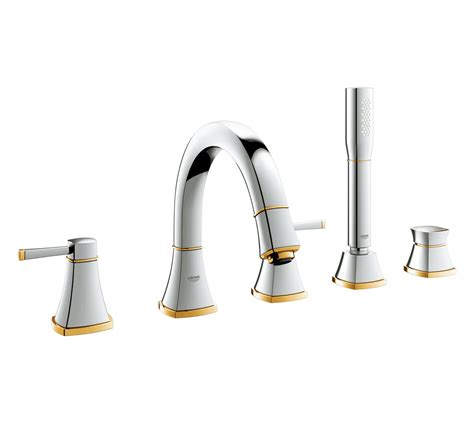 grandera chrome gold deck mounted  hole bath shower