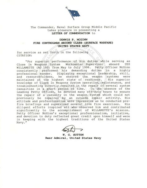 letter of commendation best photos of exle letter of commendation navy