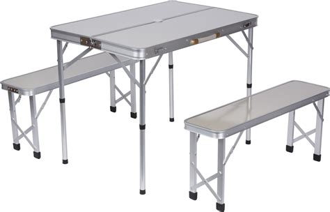 folding table with bench portable aluminum folding picnic table with 2 folding