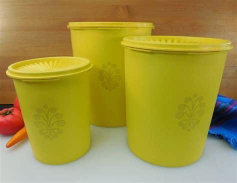 Tupperware Yellow Servalier 3 Set   Vintage Kitchen