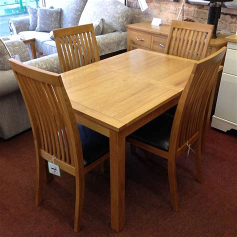 hartford extending oak dining table with 4 chairs