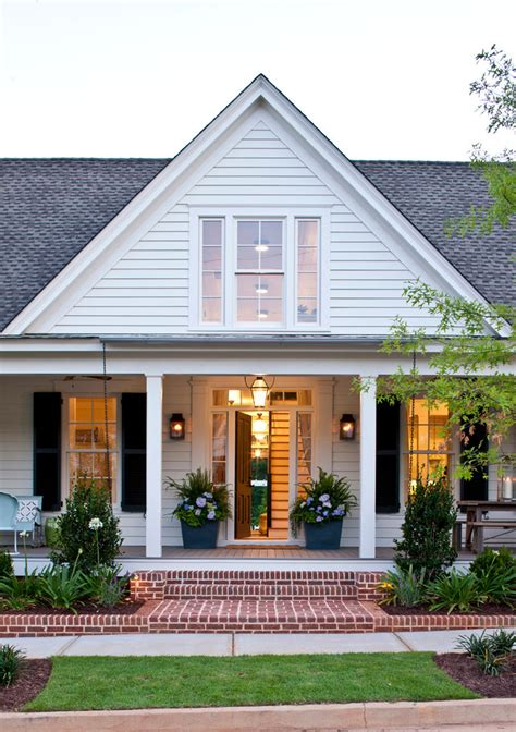 Traditional Exterior Design Red Shutters Brick Home
