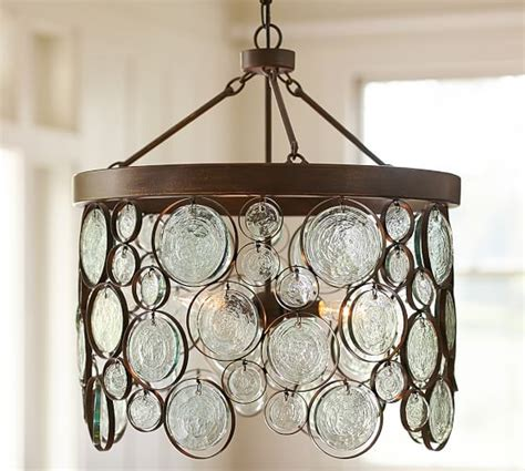 recycled glass light emery indoor outdoor recycled glass chandelier pottery barn