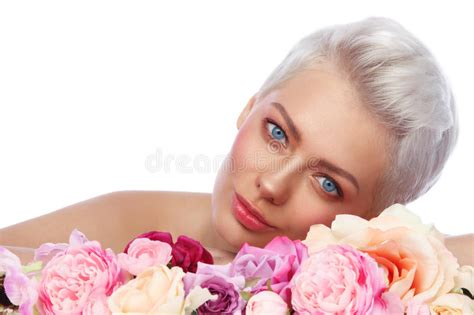 beautiful woman pixie  flowers stock image image