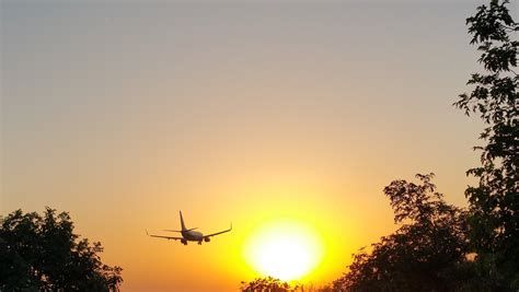 airplane silhouette  air  sunset  stock photo