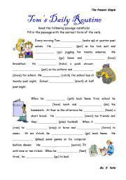 worksheet daily routines exercises present