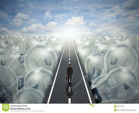 idea road creative path business landscape of light bulbs