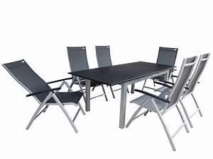 Alu Gartenmöbel Set : ubud alu gartenm bel set sitzgarnitur 7 teilig silber schwarz gartenm bel gruppen garten ~ Markanthonyermac.com Haus und Dekorationen