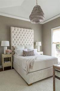 Cream, And, Gray, Bedroom, Features, A, Vaulted, Ceiling, Accented, With, A, Taupe, Woven, Pendant, Light