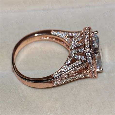 cushion cut 10ct white sapphire rose gold plated 925 silver wedding ring ebay