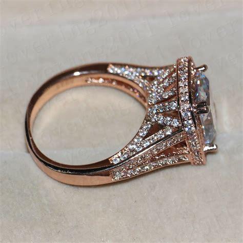 women cushion cut 10ct white sapphire rose gold plated 925 silver wedding ring ebay