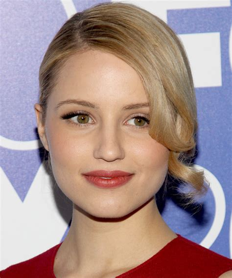 dianna agron formal long curly updo hairstyle