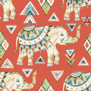Indian ornate elephant watercolor seamless pattern ...