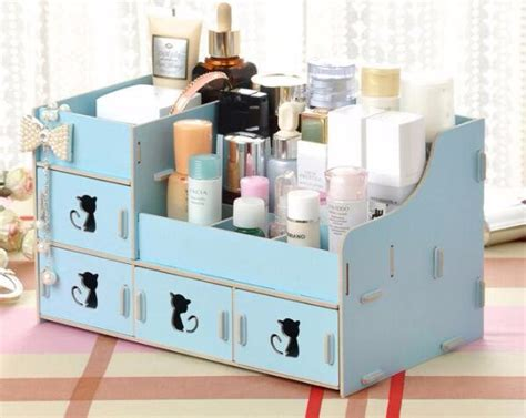 Rak Kosmetik Bahan Plastik jual 616 rak kosmetik bahan kayu desktop storage cat
