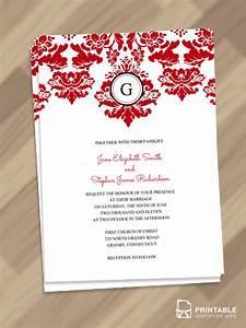 Elegant damask border with monogram invitation wedding for Damask wedding invitations template free