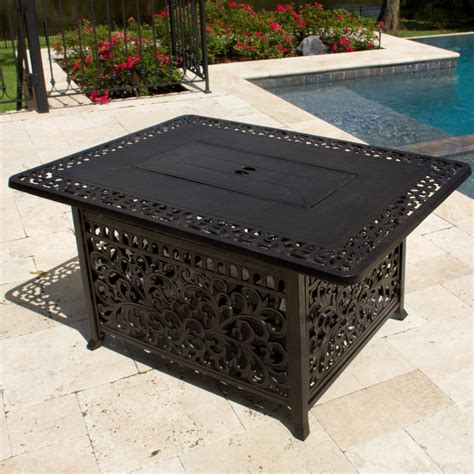 Though it doesn't have many reviews yet, the ones that are in have been largely positive. 48-Inch Rectangular Cast Aluminum Propane Fire Pit Coffee Table By Lakeview Outdoor Designs ...