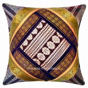 Multi, Decorative, Silk, Sari, Unique, One-of-a-kind, Throw, Pillow, Cover, 16x16, Inch
