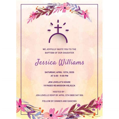 32+ Baptism Invitation Templates Free Sample Example