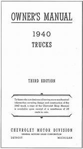 1940 Chevrolet Truck Owner U0026 39 S Manual