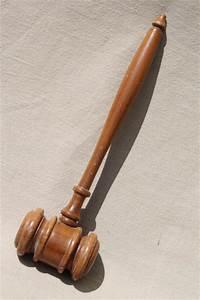 vintage wood gavel, judge gavel or auctioneer's hammer