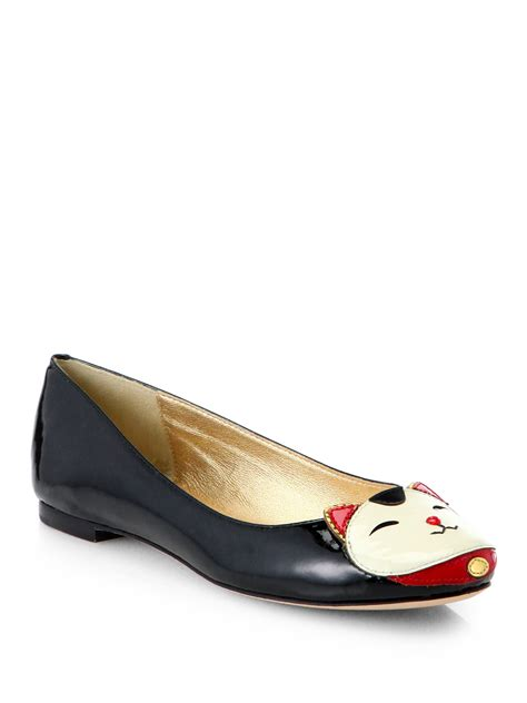 betsey johnson shoes lyst kate spade york jimi patent leather cat flats