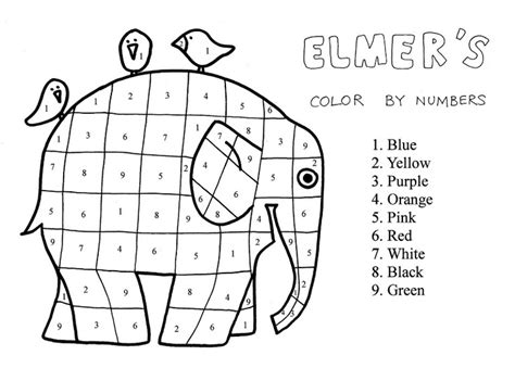 elmer  elephant color  numbers forest zoo animals
