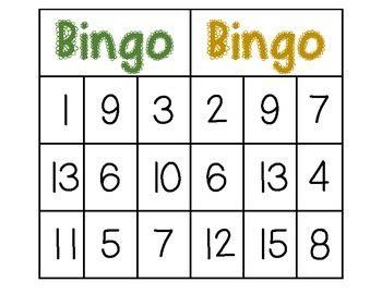 bingo numbers 1 20 by sarah larimer teachers pay teachers