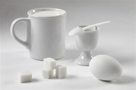 Still White White Still Life With A Mug And An Egg Stock Image Image