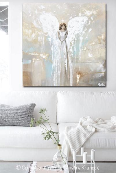 original abstract angel painting guardian angel white