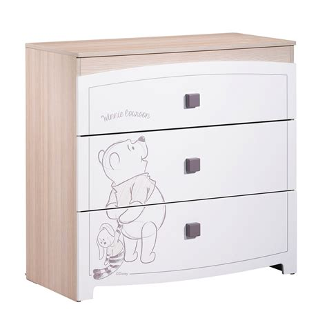 bureau winnie l ourson winnie commode 3 tiroirs blanc de sauthon sélection